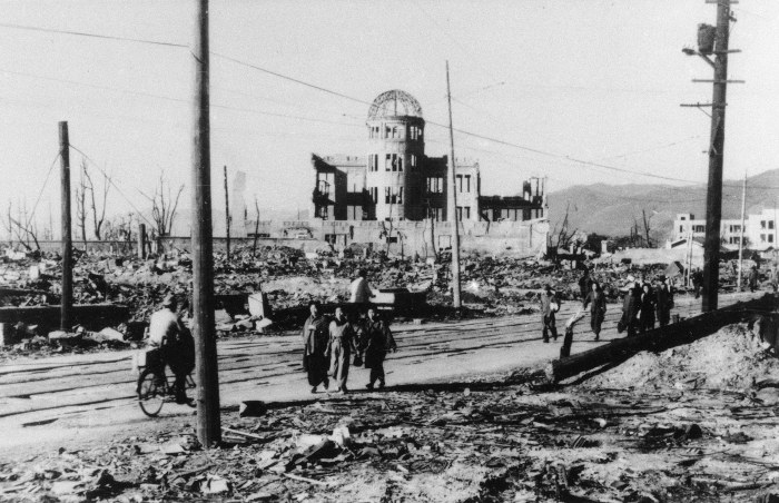 FILE - In this 1945 file photo, an area around the Sangyo-Shorei-Kan (Trade Promotion Hall) in Hiroshima is laid waste after an atomic bomb exploded within 100 meters of here in 1945. Hiroshima will mark the 67th anniversary of the atomic bombing on Aug. 6, 2012. Clifton Truman Daniel, a grandson of former U.S. President Harry Truman, who ordered the atomic bombings of Japan during World War II, is in Hiroshima to attend a memorial service for the victims. (AP Photo, File)